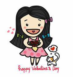 cute girl in love holding roses bouquet valentine vector image