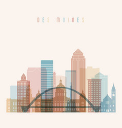 Des moines state iowa skyline detailed vector