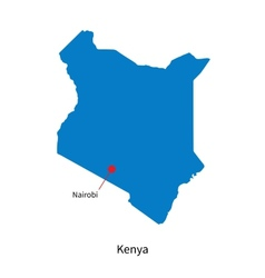 Detailed map of Kenya and capital city Nairobi vector image