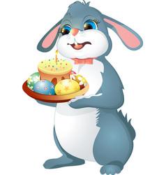 easter rabbit holds cake vector image