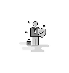 employee web icon flat line filled gray icon vector image