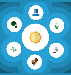 Flat icon bio set of bird solar floral and other vector