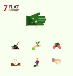 flat icon sow set of glove sow plant and other vector image