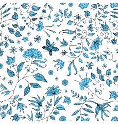 Flower Seamless Pattern Blue vector image