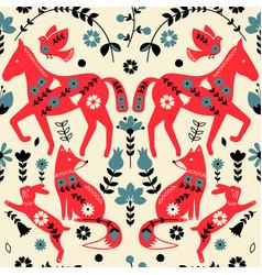Folklore horses pattern scandinavian design vector