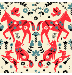 Folklore horses pattern scandinavian style design vector