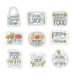 Fresh healthy organic vegan food logo labels set vector