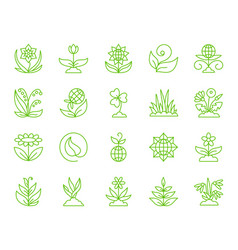 garden simple color line icons set vector image