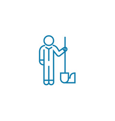 gardener with shovel linear icon concept gardener vector image