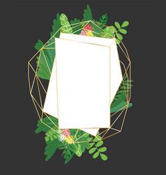 geometric botanical design frame vector image