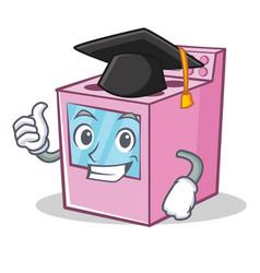 Graduation gas stove character cartoon vector