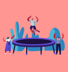Happy man jumping on trampoline friends cheering vector