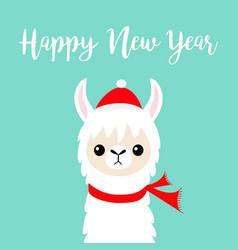 Happy new year llama alpaca baby face santa red vector