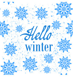 Hello winter typographic poster hand drawn phrase vector