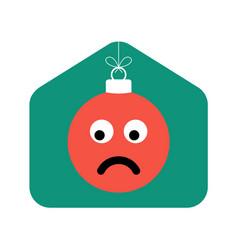 home christmas flat with emoji sad face vector image