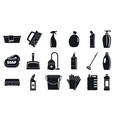 house cleaner equipment icons set simple style vector image