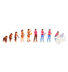 human evolution monkey to modern woman vector image