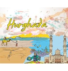 Hurghada doodles vector