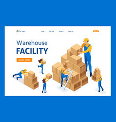 isometric the work movers in warehouse vector image