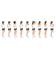 isometry stages and timing pregnancy girl vector image