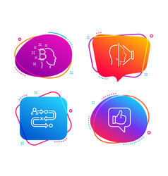 Journey path bitcoin think and face id icons set vector