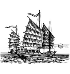 junk chinese boat sketch vector image