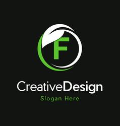 Letter f circle leaf creative business logo vector