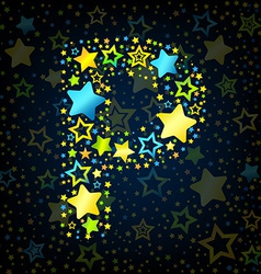 Letter P cartoon star colored vector