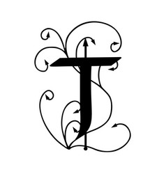 letter t with arrows vector image