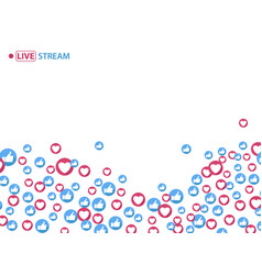 like and heart icons for live stream video vector image