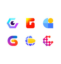 Logo or icon of letter g for global blockchain vector