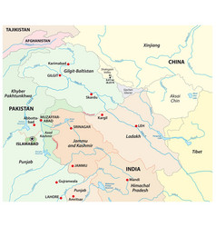 Map territorial tenure kashmir vector