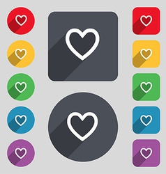 Medical heart love icon sign a set of 12 colored vector