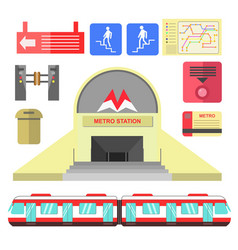 Metro station transport and signs poster on white vector