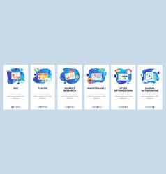 Mobile app onboarding screens seo and digital vector