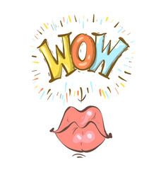 mouth with speach bubble wow and female lips in vector image