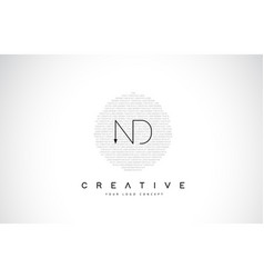 Nd n d logo design with black and white creative vector