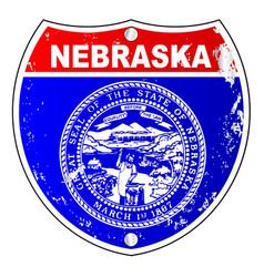 nebraska flag icons as interstate sign vector image