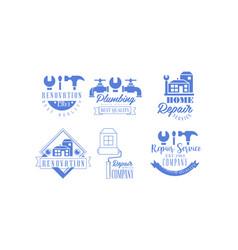 Original blue emblems for repairing companies vector