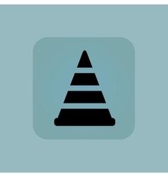 Pale blue traffic cone icon vector