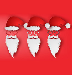 paper art of santa claus hat set vector image