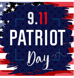 patriot day usa card brush paint blue vector image