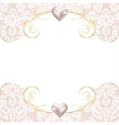 pearl frame on lace background vector image
