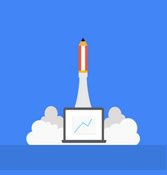 pencil rocket launching with vector image