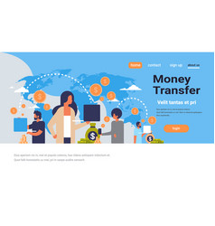 people using global payment application money vector image