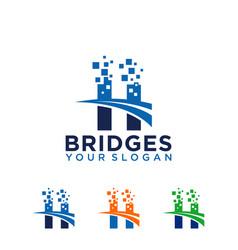 pixel bridge logo design template vector image