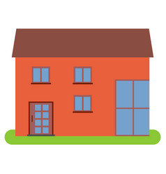 private house with a brown roof and red walls vector image