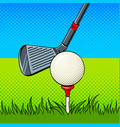 Putter and golf ball door pop art vector