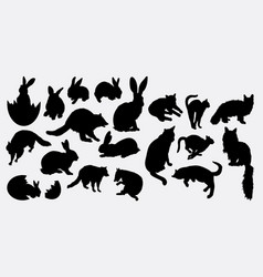 Rabbit and cat animal silhouette vector
