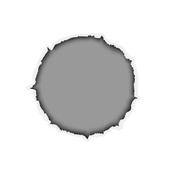 Ragged round hole in white sheet of paper vector